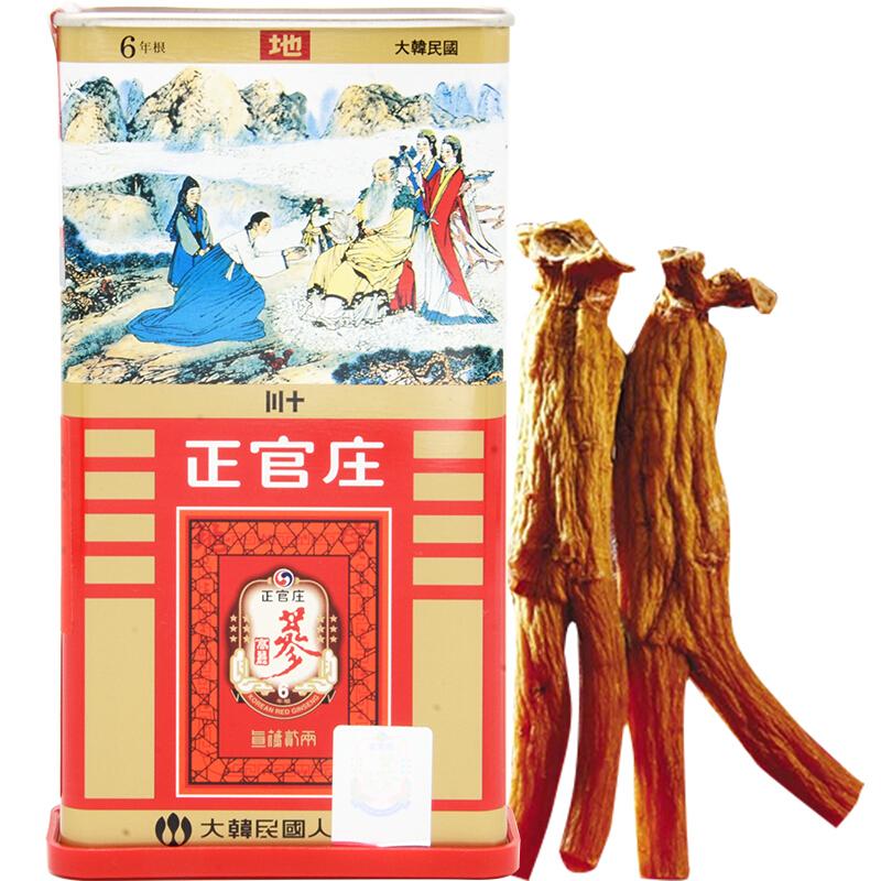 正韩 红参(正韩高丽参六年根)(铁盒+木盒) 75g 30支良