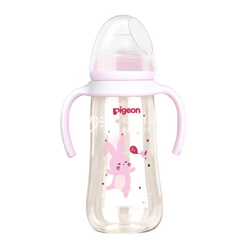 贝亲双把手自然实感宽口径PPSU塑料彩绘奶瓶330mL(粉色)-L号奶嘴