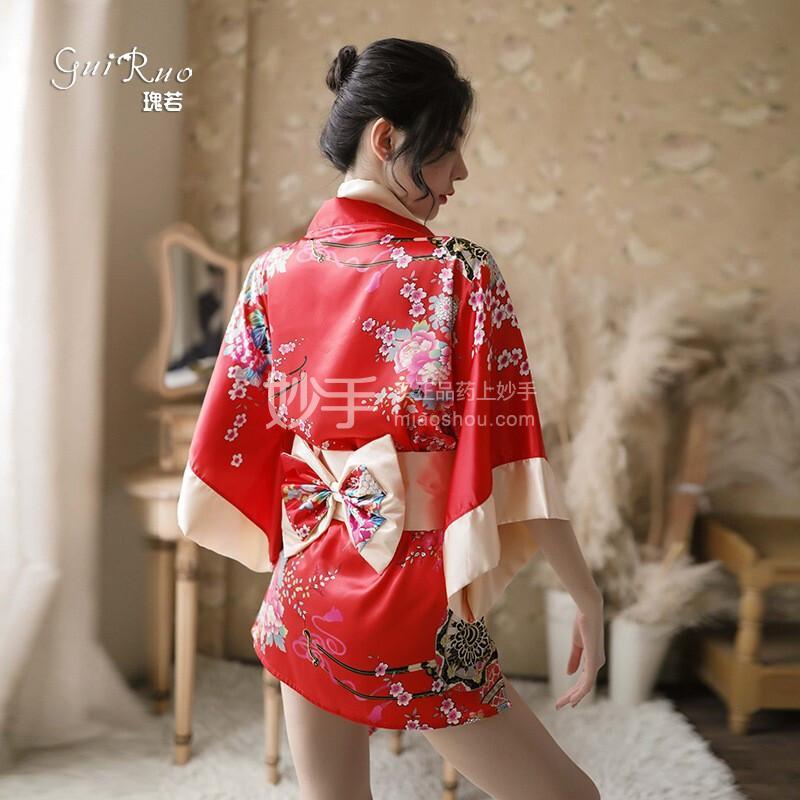 瑰若 日式印花和服 207红色均码
