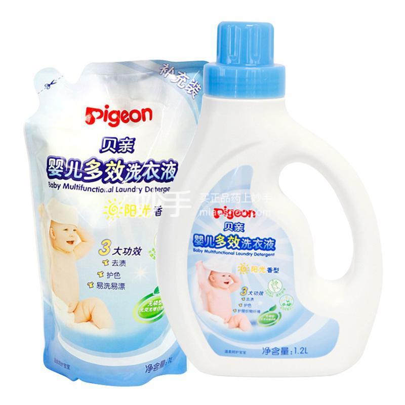贝亲婴儿多效洗衣液1.2L +贝亲婴儿多效洗衣液1L,补充装