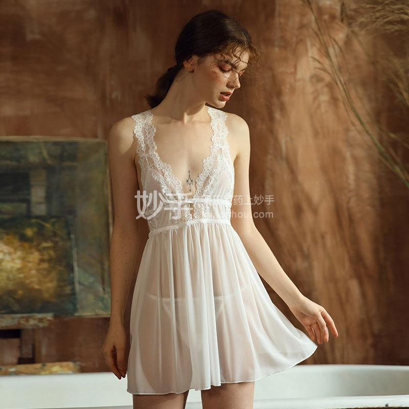 瑰若 深v蕾丝肩带后开叉绑带睡裙725白色