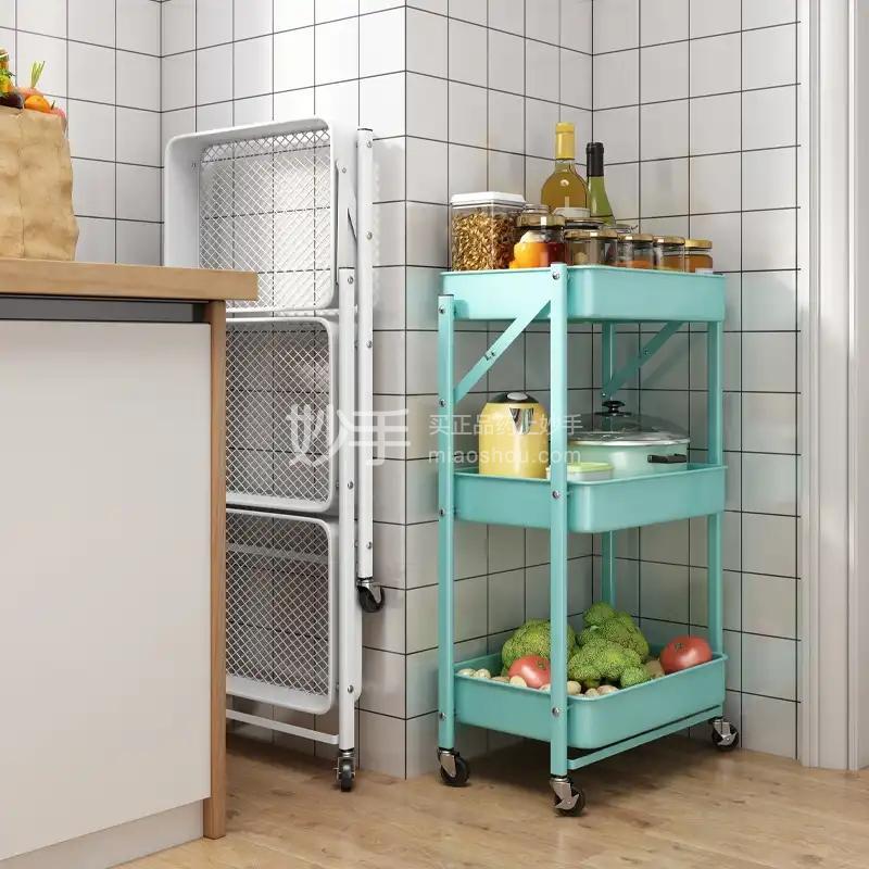 抖店免安装折叠厨房置物架落地多层粉色 3层免安装(万向轮)