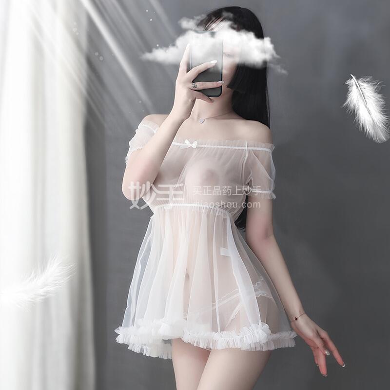 品贤 白雪公主网纱透明大裙摆睡裙白色