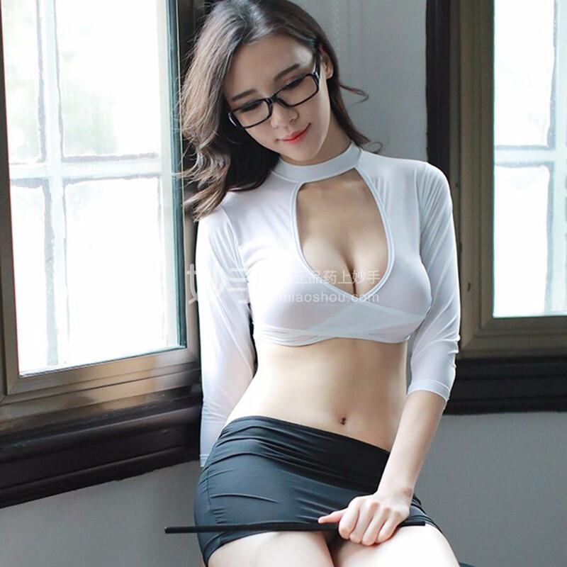 性感秘书低胸紧身制服套装 83均码  白-黑色