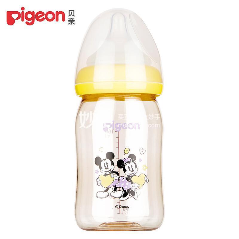 """贝亲Disney""""自然实感""""宽口径PPSU彩绘奶瓶160ml配SS奶嘴(米奇米妮-爱心)"""